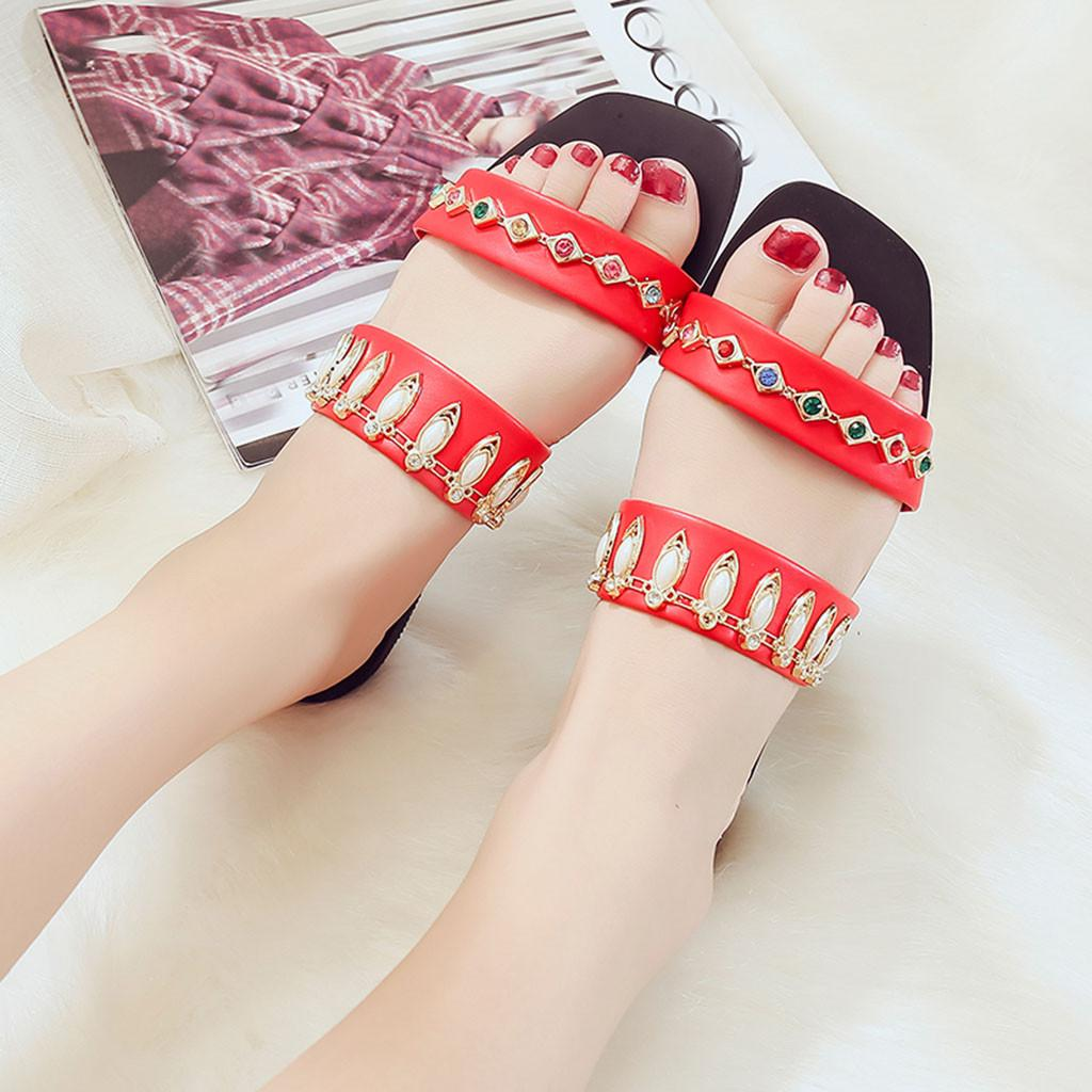 8ab7b52a Vogue Slippers Women Nice Summer Fashion Crystal Flat Shoes Casual Loafers  Female Slippers Zapatos Mujer Size 25 52 Italian Shoes Mid Calf Boots From  ...