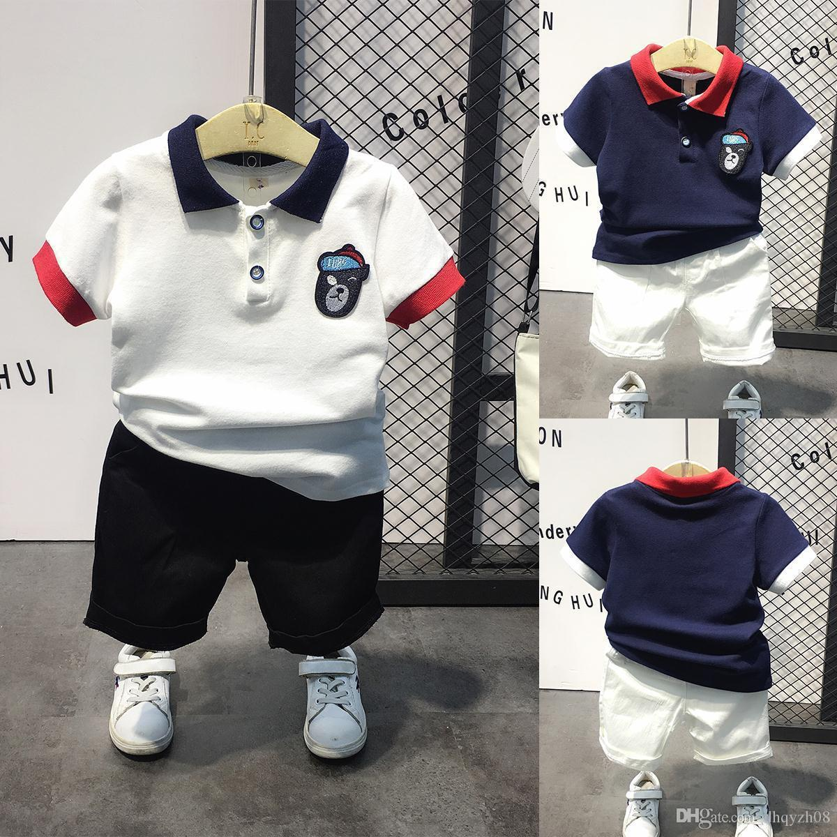 2019 new hot-sale products Boys T-shirt shorts set Fashion childrens clothes Sleeve lapel in cartoon solid color The baby shirt