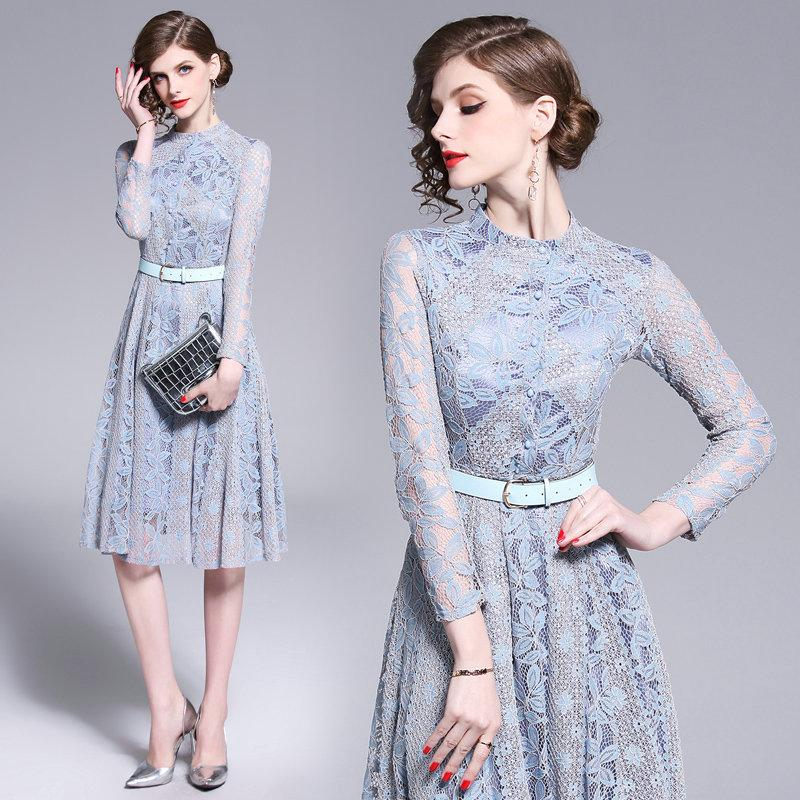 f249767e781 Temperament Lace Women Dress Long Sleeve 2019 Spring Autumn Lace Dresses  Fashion Classic A Line Dress Party Prom Dress Modest Prom Dresses Dresses  On Sale ...