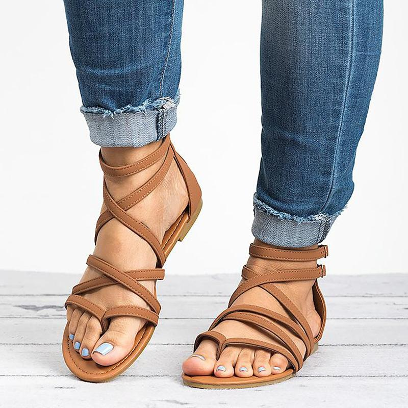 e1c9c6e0f Women Sandals Rome Style Summer Shoes Woman Gladiator Sandals With Zip Flip  Flop Female Flat Sandals Lady Beach Sandalias Mujer Wedge Sandals Jesus  Sandals ...