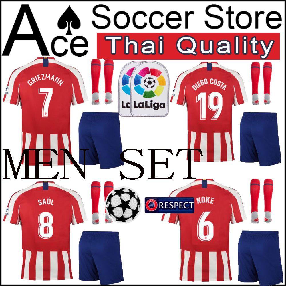 9493664b666 2019 New Atletico Madrid Men Set 19 20 Soccer Jersey GRIEZMANN MORATA  CORREA Home KOKE SAUL 2019 2020 Adult Kit DIEGO Football Shirt Shorts From  ...
