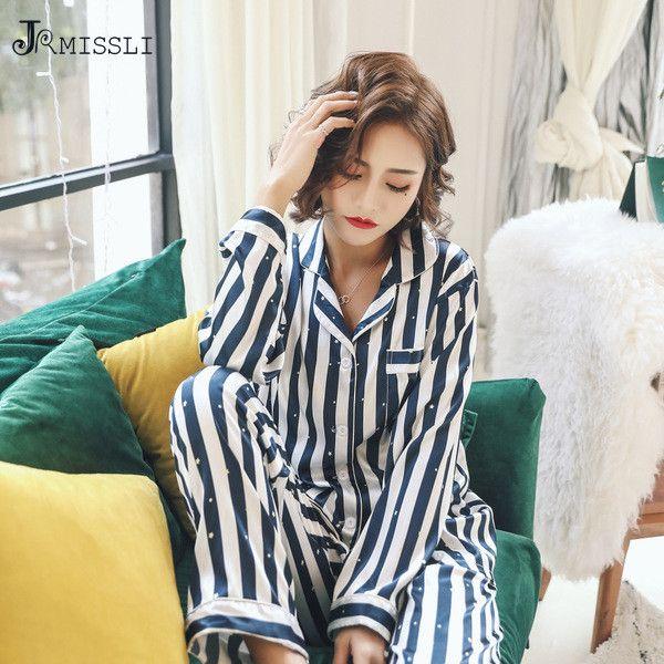 JRMISSLI Spring Striped Women s Satin Silk Pajamas Female Leisure ... 09b62358b