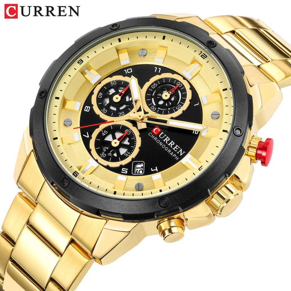 CURREN 2019 Newfashion Chronograph Quartz Sport Watches for Men Business Wristwatch with Calendar Mens Watch Male Clock Relojes