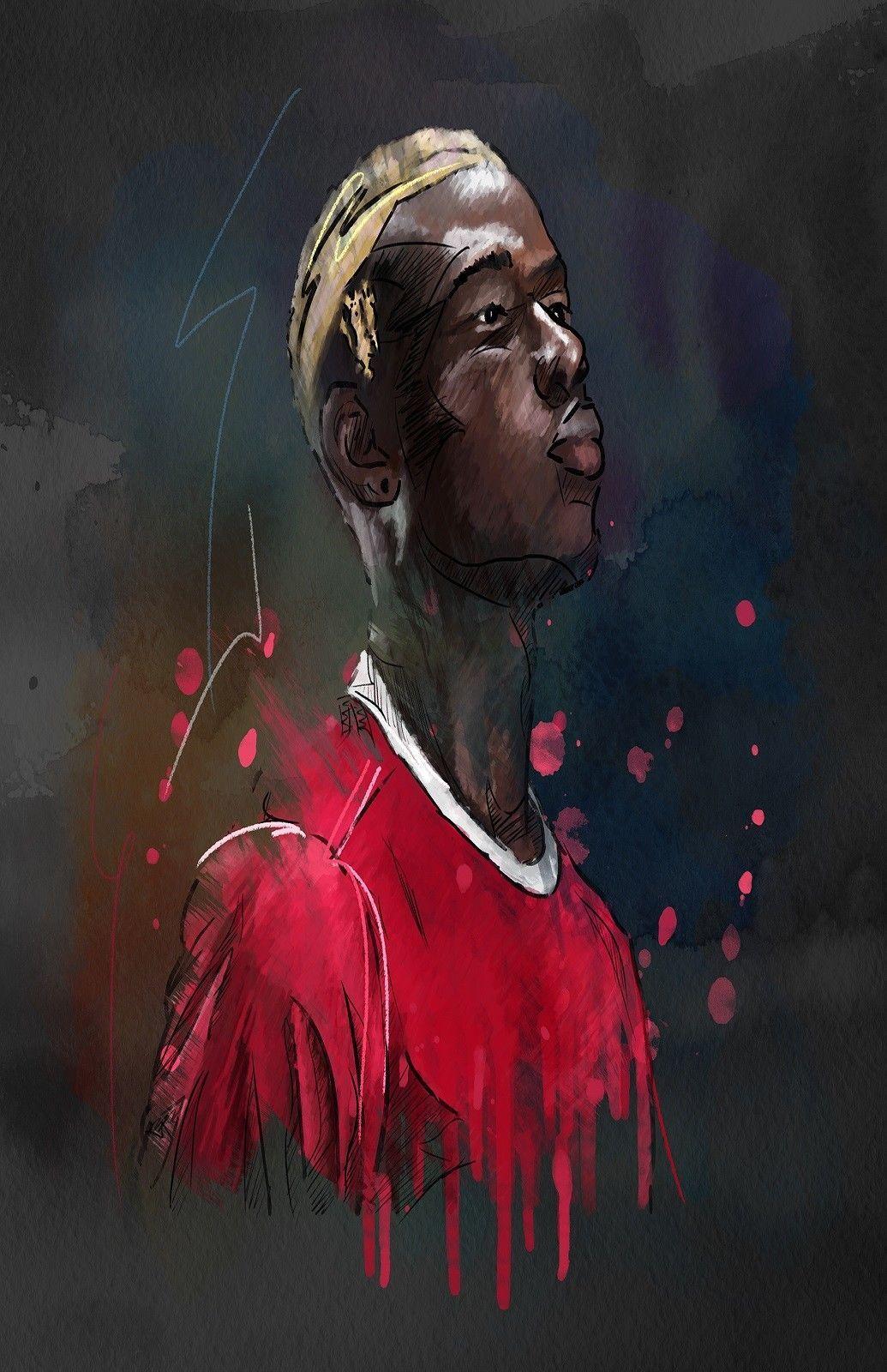ea09aaf45062a Man United Paul Pogba Football Digital Art Silk Print Poster  24x36inch(60x90cm) 019
