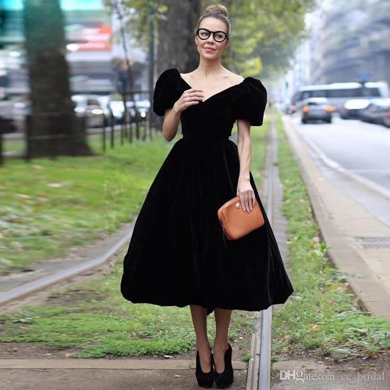 dfca1e94808 Deep V Neck Black Velvet Prom Dresses 2019 Sexy Short Sleeves Cheap Formal  Dress Evening Party Gowns Elegant Ball Gown Vestido De Festa Prom Dresses  For ...