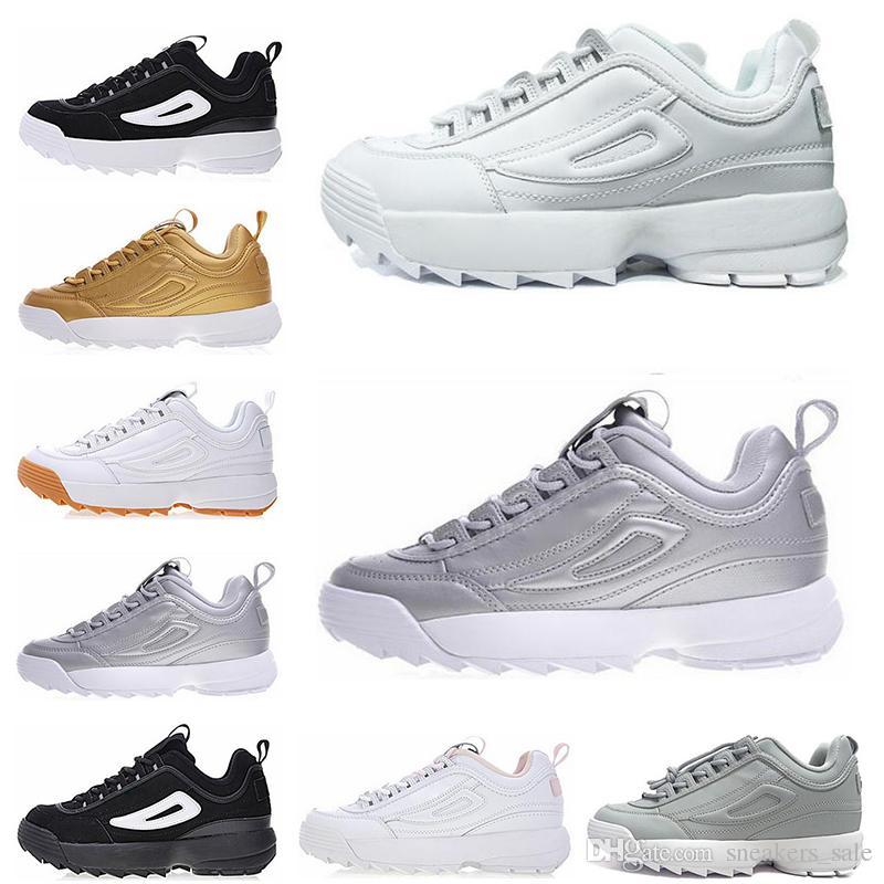 b319e00fd315e Fila Disruptor 2 II Diseñador De Lujo Blanco Negro Gris Oro Disruptores II  2 Zapatos Para Correr Para Hombre Mujer Color Rosa Púrpura Zapatillas  Deportivas ...