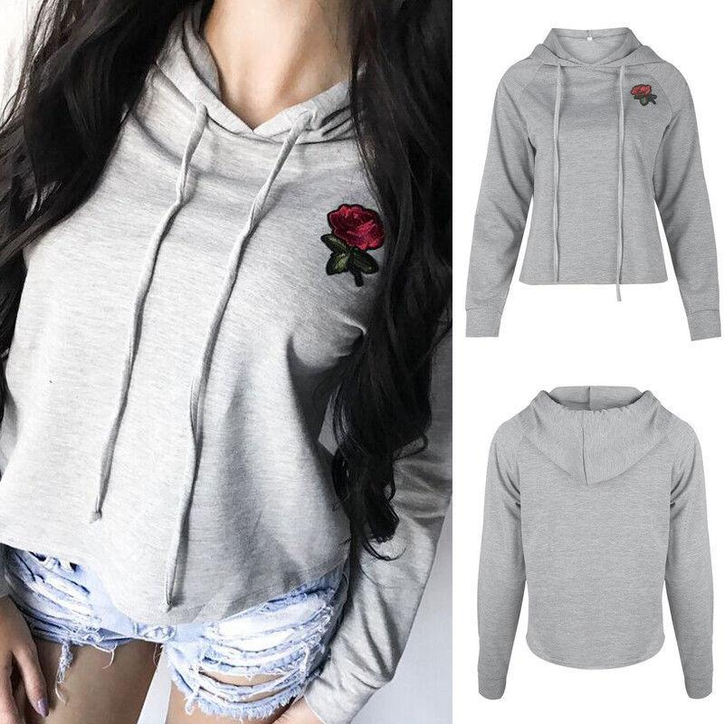5a83cb4755c New Women Sweatshirt Floral Pullover Jumper Hooded Long Sleeve Crop Top  Autumn Sweatshirts Women Clothes Winter Online with  33.56 Piece on  Jincaile08 s ...
