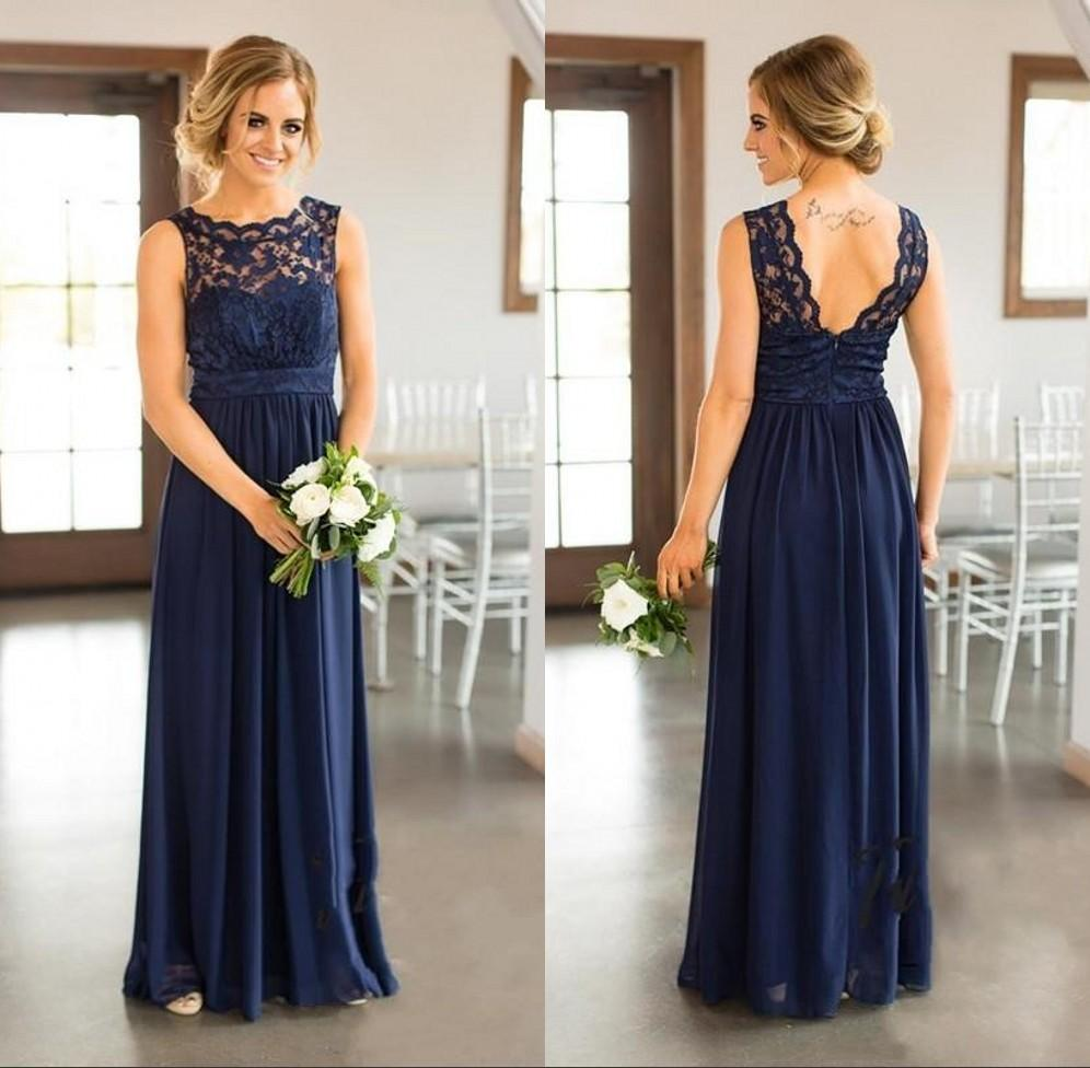 b1f14a23b3 2019 Elegant A Line Navy Blue Bridesmaid Dress Lace Applique Maid Of Honor  Gowns Cheap Custom Made Maternity Bridesmaid Dress Monique Lhuillier  Bridesmaid ...