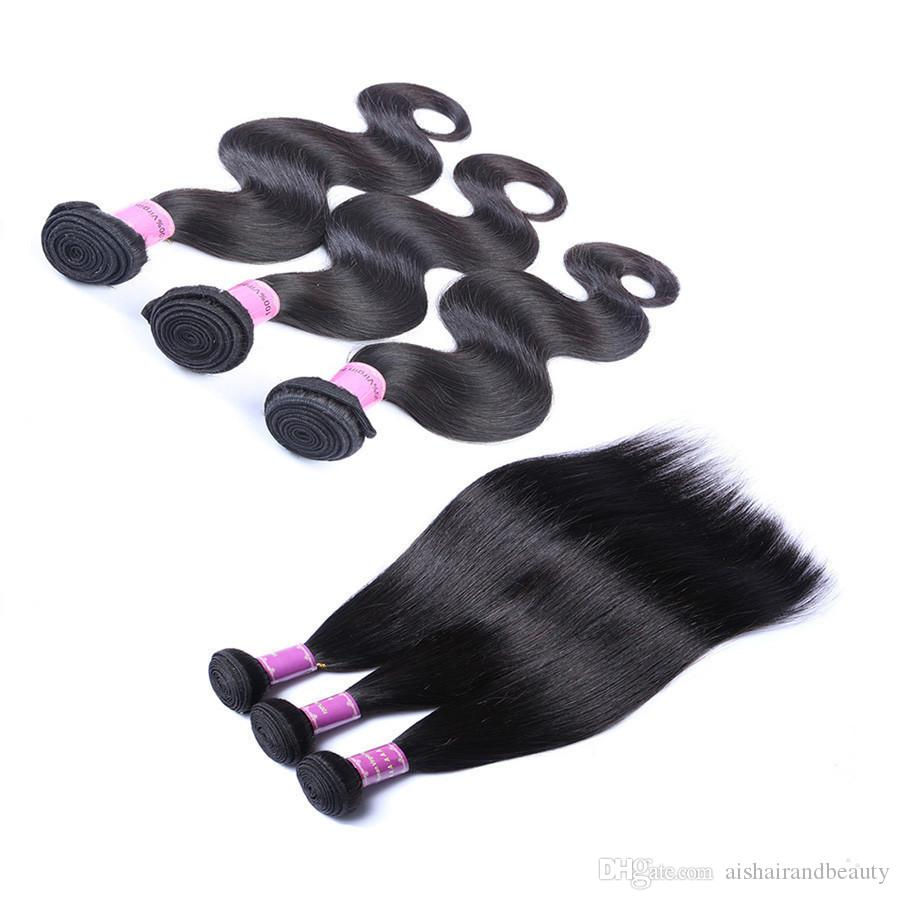 Ais Hair Brazilian Virgin Human Hair Bundles Extensions Straight Body Wave Deep Wave Curly Unprocessed 3 Bundles Indian Remy Hair Weaves