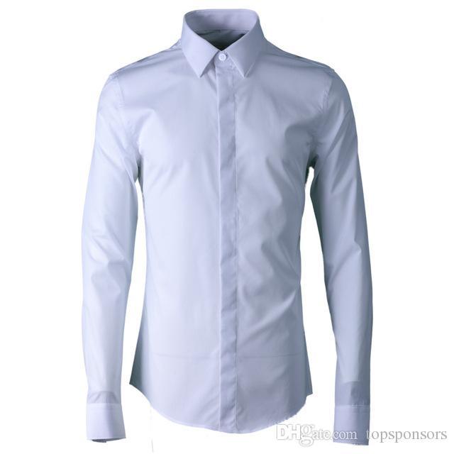 3f6f34fadc Compre 100% Algodão Camisa Dos Homens De Luxo Cor Sólida Camisa Social De Manga  Longa Camisa Masculina Camisas Dos Homens Casuais Slim Fit Plus Size 3xl  4xl ...