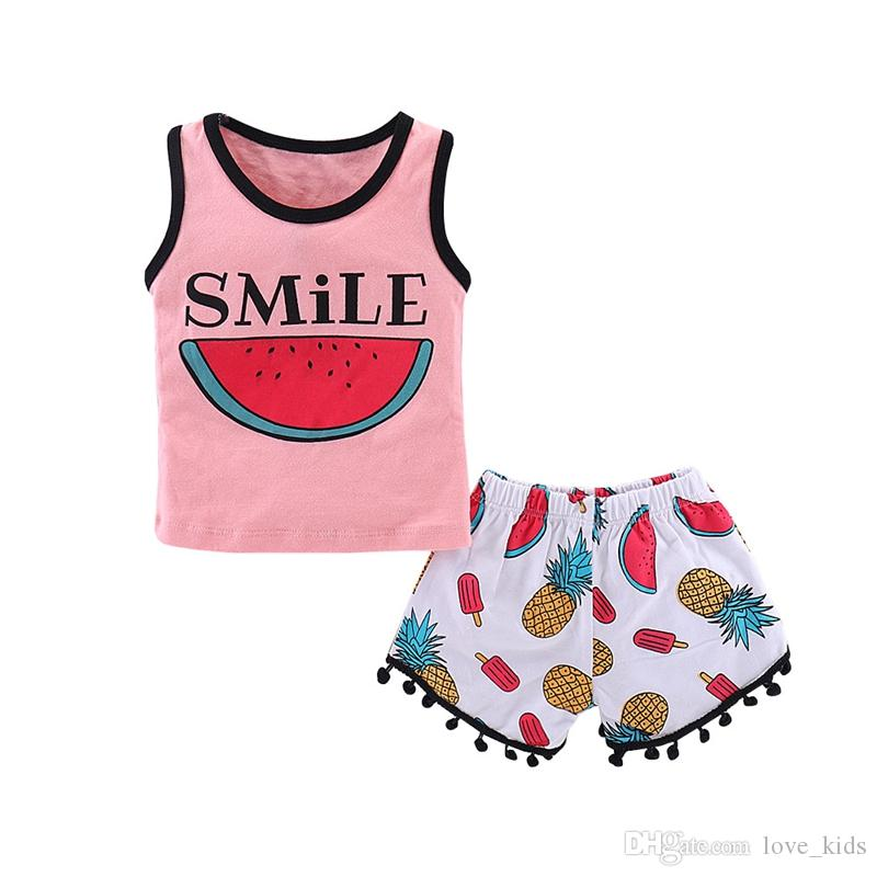 INS Baby girls clothing set ice cream watermelon Pineapple printed vest tank tops with tassel shorts pants 2 pcs sweet girl outfits