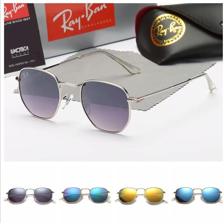 Brand new Men Women Sun Glasses Gold Frame mirror sunglasses Fashion womens sunglasses UV protection Retro Eyewear With box and cases