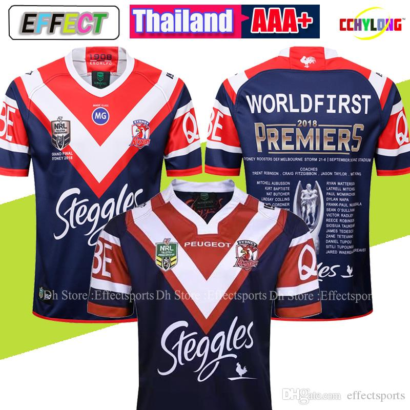 d72a5f91b66 Sydney Roosters 2018 Premiers Jersey 2018 2019 new SYDNEY ROOSTERS Home  rugby Jerseys NRL National Rugby League rugby shirt size S-XL-3XL