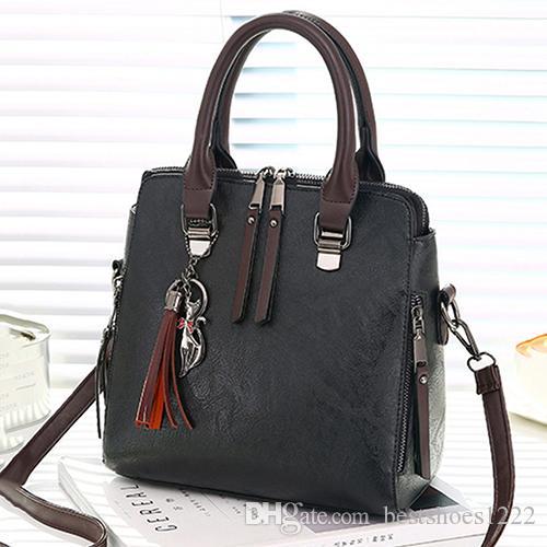 Vintage Leather Ladies HandBags Women Messenger Bags TotesTassel ... 3e111a33756e9