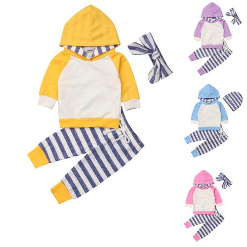 d53ba8ca8817 2018 New Kids Baby Boys Girls Long Sleeve Hoodied T-shirt +Stripe ...