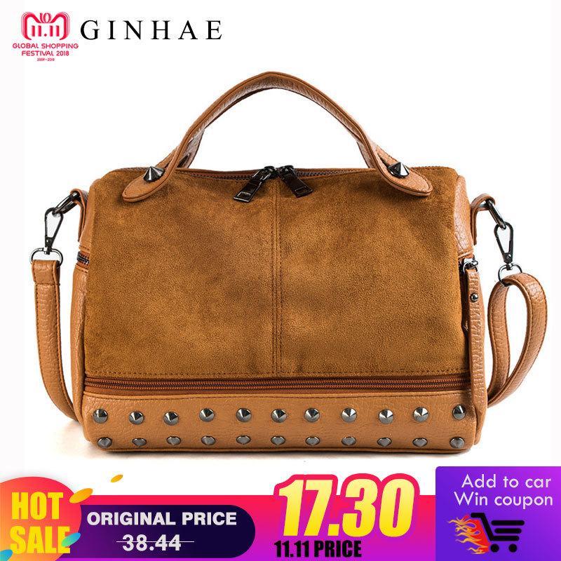 556b22d4da95 2019 Fashion Vintage Nubuck Suede Leather Patchwork Women Bag Ladies Casual  Tote Handbags Female Rivet Shoulder Bag Motorcycle Messenger Sac Designer  ...