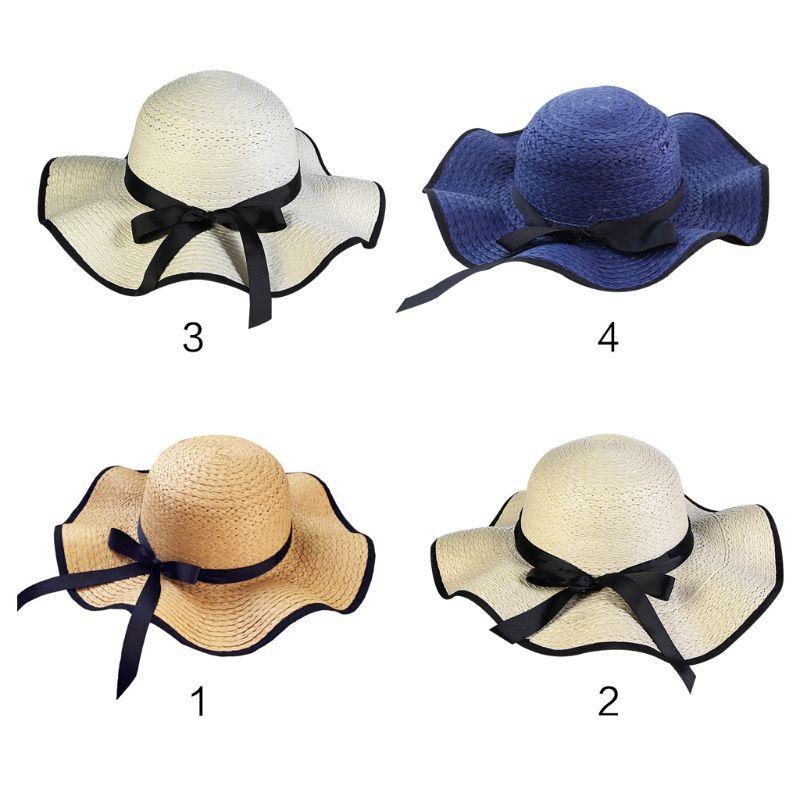 d3e4afa20e1da Women Summer Straw Weave Floppy Beach Sun Hat Contrast Color Trim Long  Ribbon Bowknot Decor Wide Wavy Brim Bucket Hat With Chin Baby Sun Hat  Summer Hats For ...