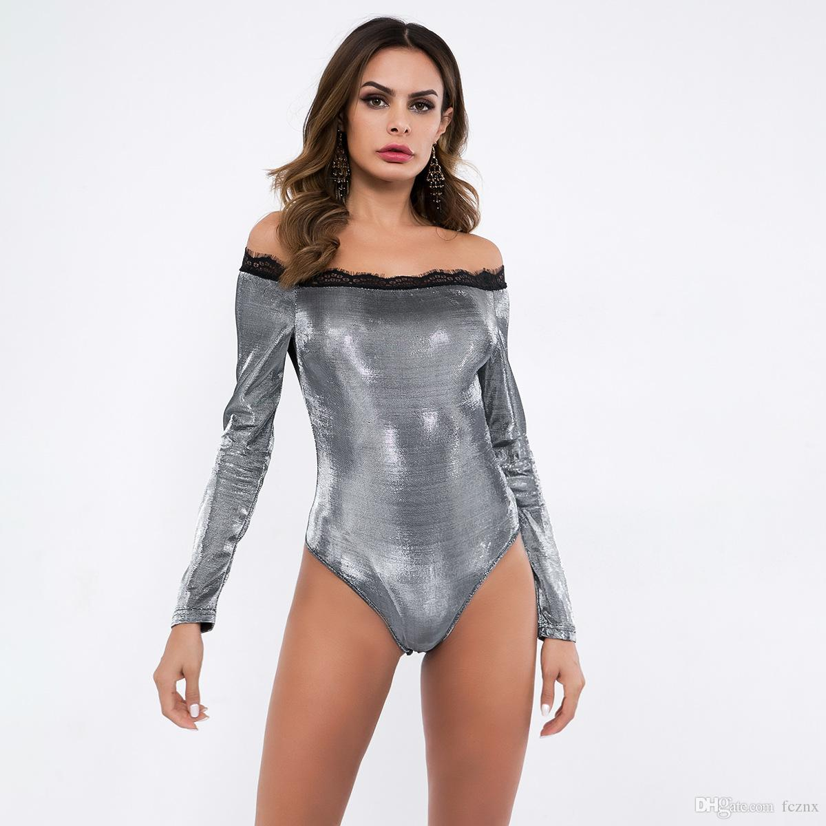 3b8c52d191 2019 2019 Women Clothing Long Sleeve Slash Neck Lace Spliced Solid  Jumpsuits Rompers Female Sexy Fashion Slim Shiny Bodysuits P5652 From  Fcznx
