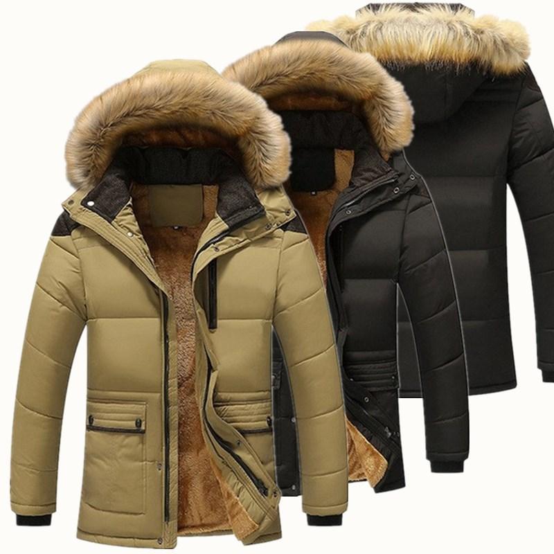 36e06045b Veste D hiver Hommes 2019 Nouveau Manteau Parka Hommes Col De Fourrure À  Capuche Gardez Au Chaud Doublure En Laine Homme Veste Et Manteau Coupe-Vent  ...
