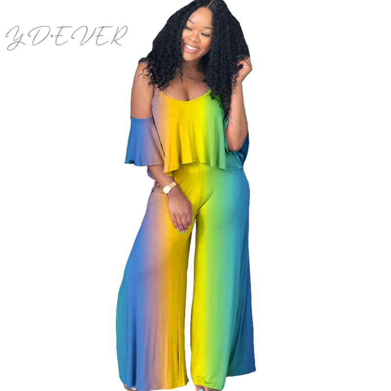 6c9a261fc544 2019 Women Ruffles Off Shoulder Wide Leg Jumpsuit Romper Elegant Ladies Tie  Dye Rainbow V Neck Strap Loose Overalls Party Jumpsuits From Cutelove66