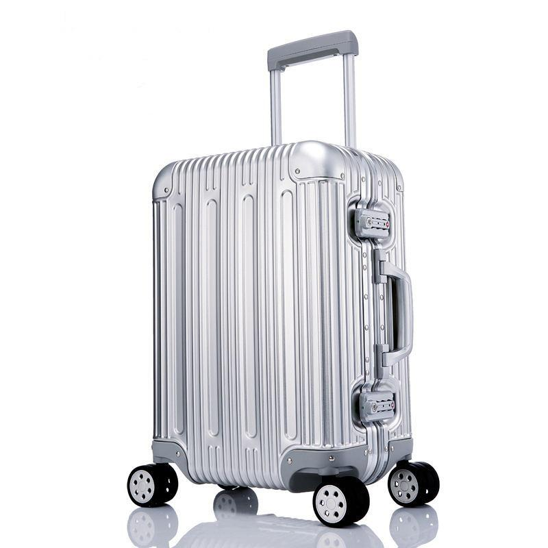 38cca0879 100% All Aluminium Alloy Luggage Hardside Rolling Trolley Luggage Travel  Suitcase 20 Carry On 25 29 Checked Overnight Bags Briefcases For Men From  ...