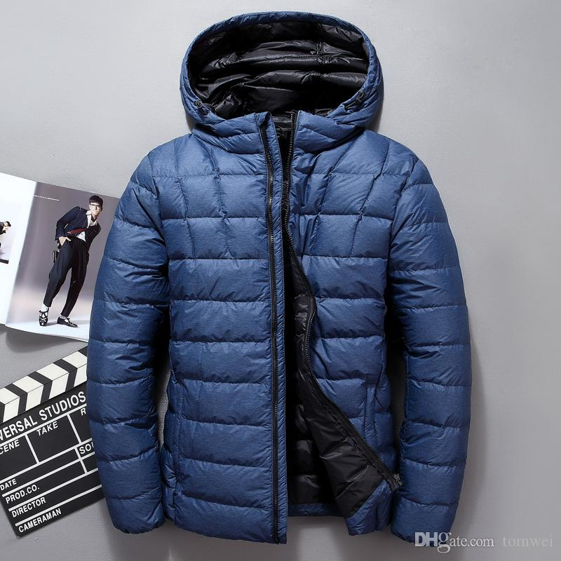 d14be6178 Short Jacket Coats Winter Duck Down Parkas Hooded Warm Slim Fit Outerwear  Overcoat Black Blue Grey high quality