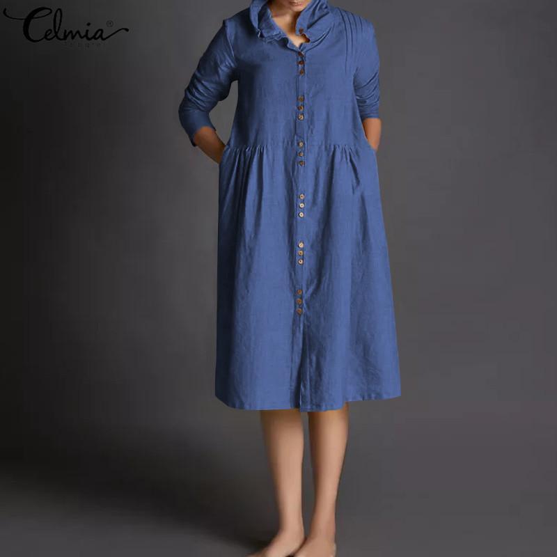a29ac2ae360 Celmia Vintage Women Loose Linen Dress Long Sleeve Button Down Long Shirt  Dress Solid Female Casual Party Vestidos Plus Size 5XL Cocktail Dress Sale  Floral ...