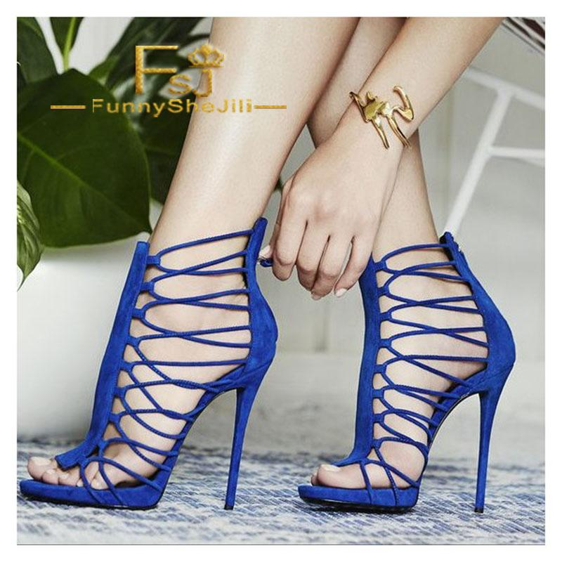 607c42204 Royal Blue Stiletto Heels Gladiator Sandals Zipper Strappy Sandals Summer  Attractive Generous Incomparable Elegant Noble FSJ White Shoes Silver  Sandals From ...