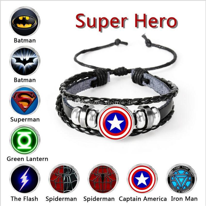 Hot Marvel Superhero Series Time Gem Multilayer Woven Beaded Leather Bracelet Customized