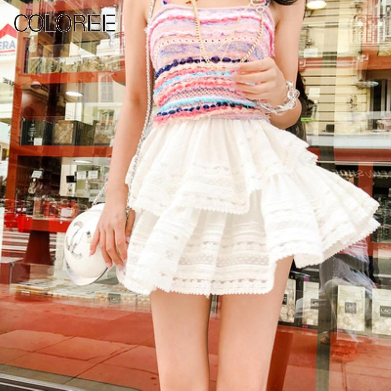 8898b852a538 EE High Quality Women Short Skirt 2019 Summer Sweet White Lace High ...