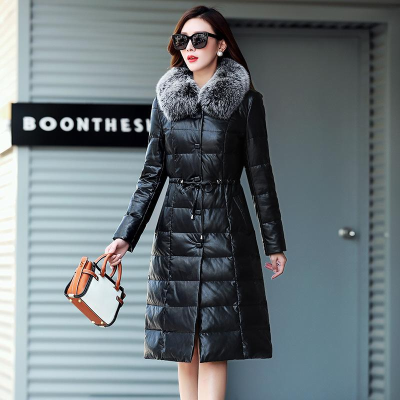 Leather Jacket Women Sheepskin Genuine Leather Jacket Plus Size  Fur Collar Winter Duck Down Coat Chaqueta Mujer M8777 YY527