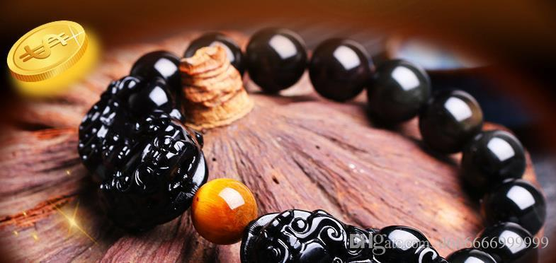 Natural Rainbow Eye Obsidian Double Mink Men's and Women's Bracelet Donghai Crystal Handstring