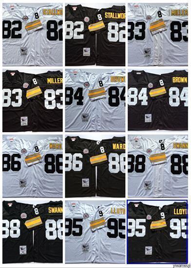 newest 6cda0 e65a7 Throwback Pittsburgh 88 SWANN Football Jersey Steelers 82 STALLWORTH 83  MILLER 84 BROWN 86 WARD 95 LLOYD Vintage black White
