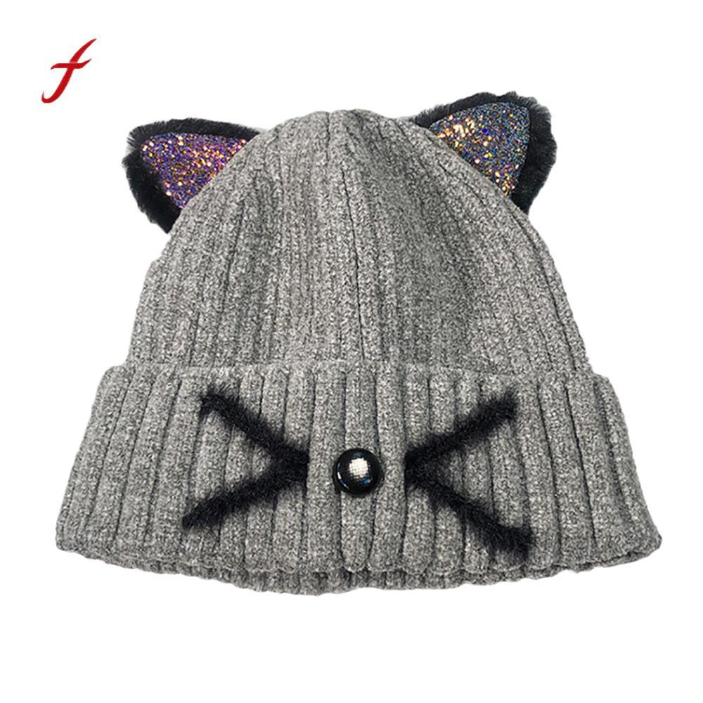 900a5c6821b Women Fashion Keep Warm Cat Ear Winter Hats Knitted Wool Hemming Hat INS  Style Ladies Fashion Stylish Solid Warm Soft Hats Ladies Hats Crazy Hats  From ...