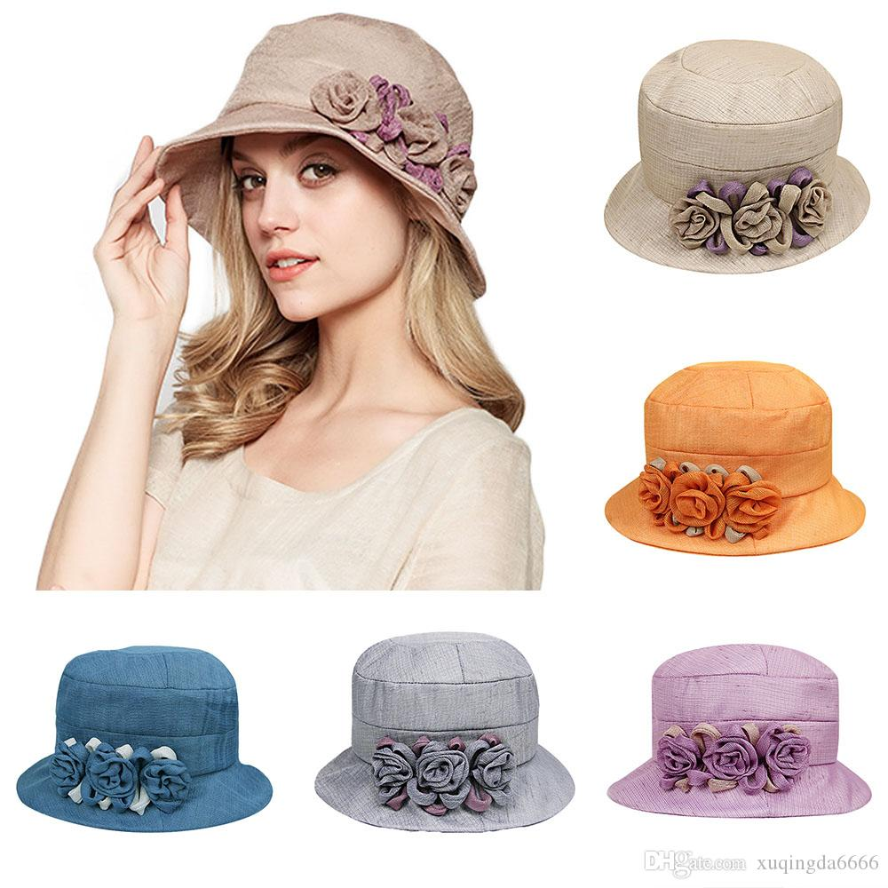 16a41feb9 Flowers Beach Sun Hat For Women Hats Elegant Summer Foldable Beige Wide  Brim Cotton Sunscreen Visor Cap