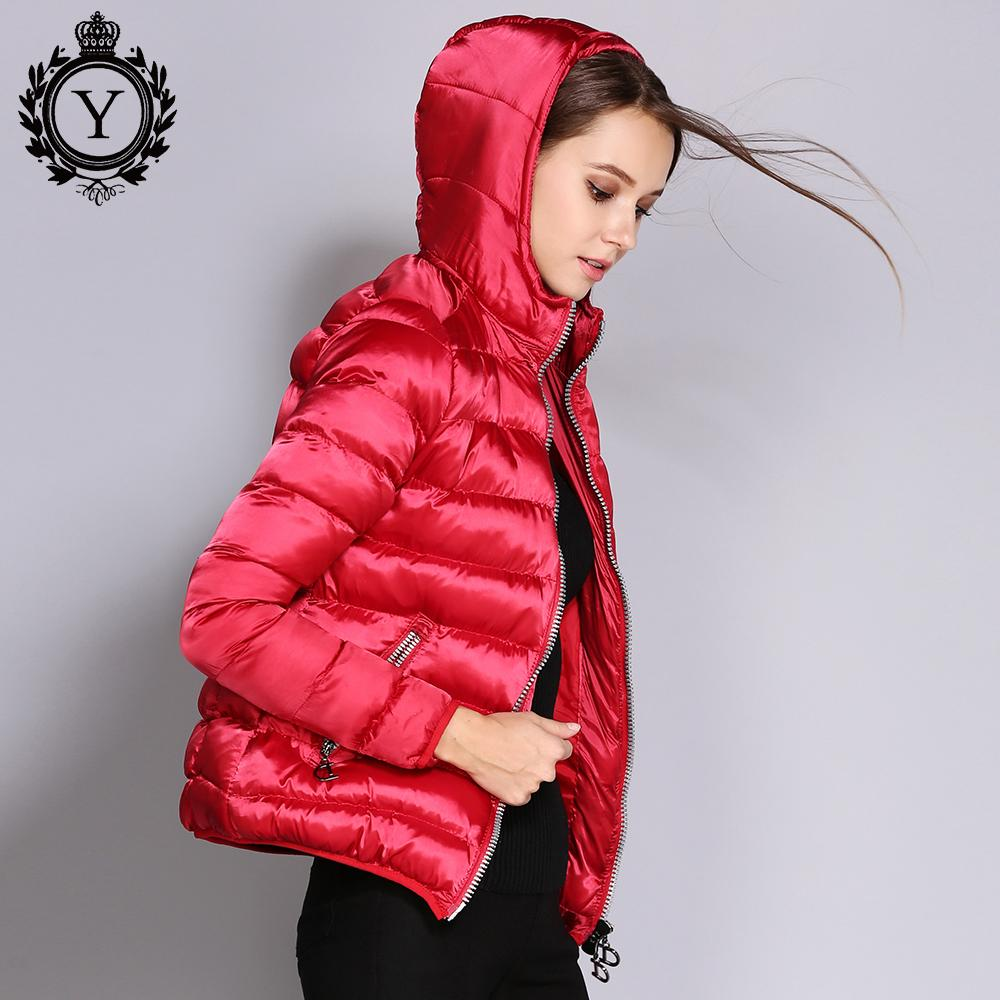 92e7186eea63 2019 Women Jackets Spring Autumn Winter Coat Red Short Hooded Jacket Cotton-Padded  Female Parkas High Quality Women's Clothing