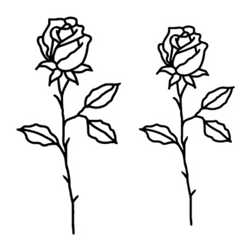 Black White Style Tattoo Sticker Tree Flower Temporary Tattoo