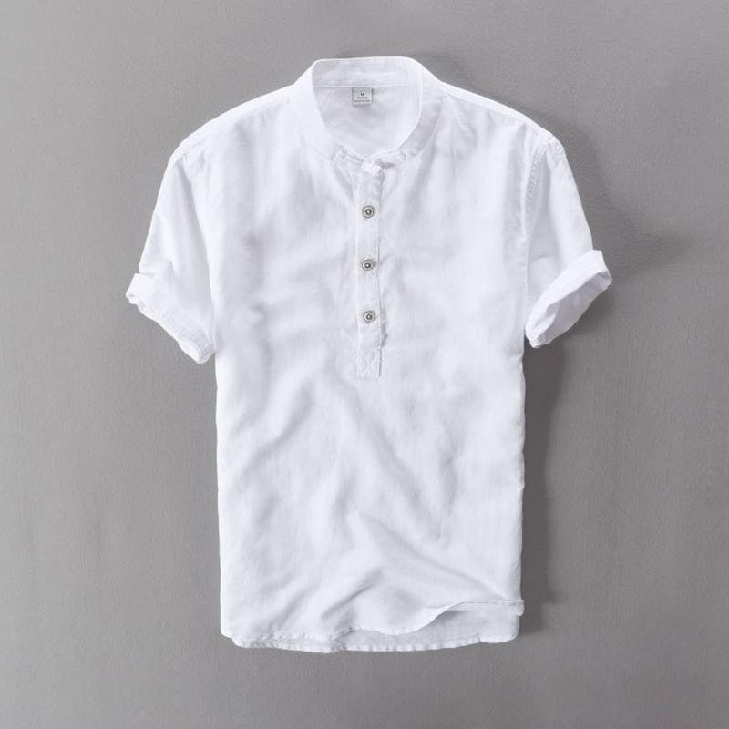 f13e7df5c6 2019 2019 Linen Causal Shirts Men S Soft Good Quality Stand Collar Short  Sleeve Summer Fashion Chinese Style Breathable Tops White From Lusi07