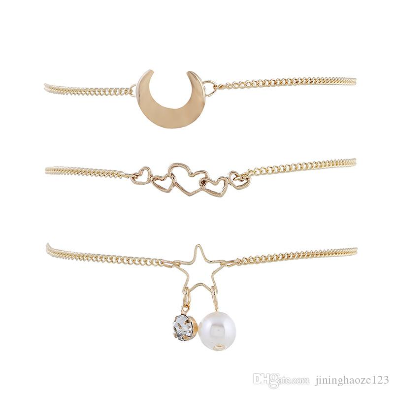 personal gold love Star Moon Pearl Bracelet set pendant Handwear For Women Brand girlfriend boyfriend gift crafts dinner accessories