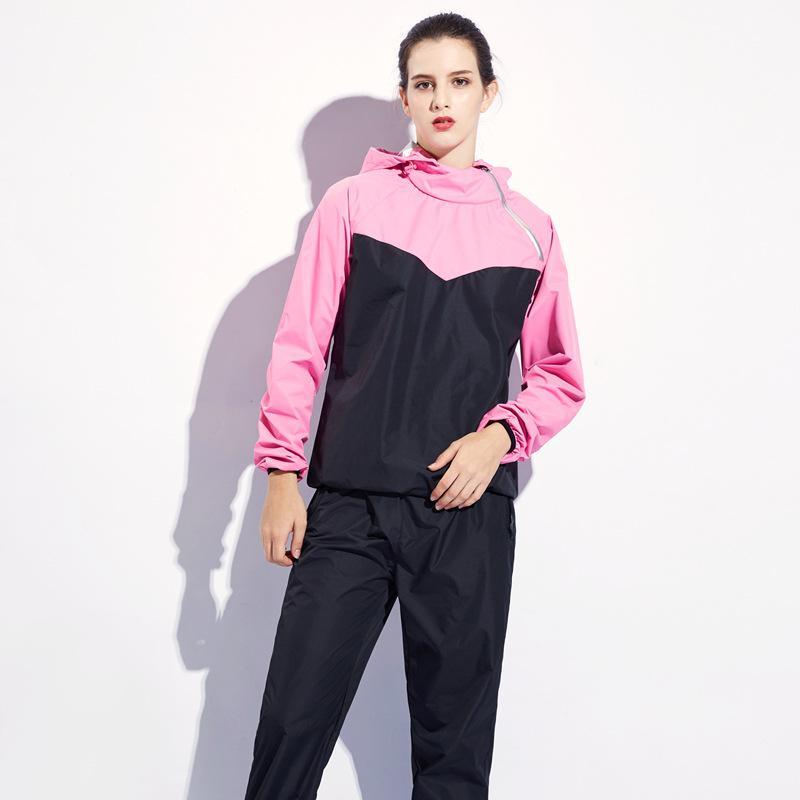 8f1eeb6fc5286 Compre 2019 Otoño Nuevo Traje Deportivo Para Mujer Traje Deportivo Masculino  Para Bajar De Peso Sudor Pantalones De Gran Tamaño Gimnasio Sudor Una ...