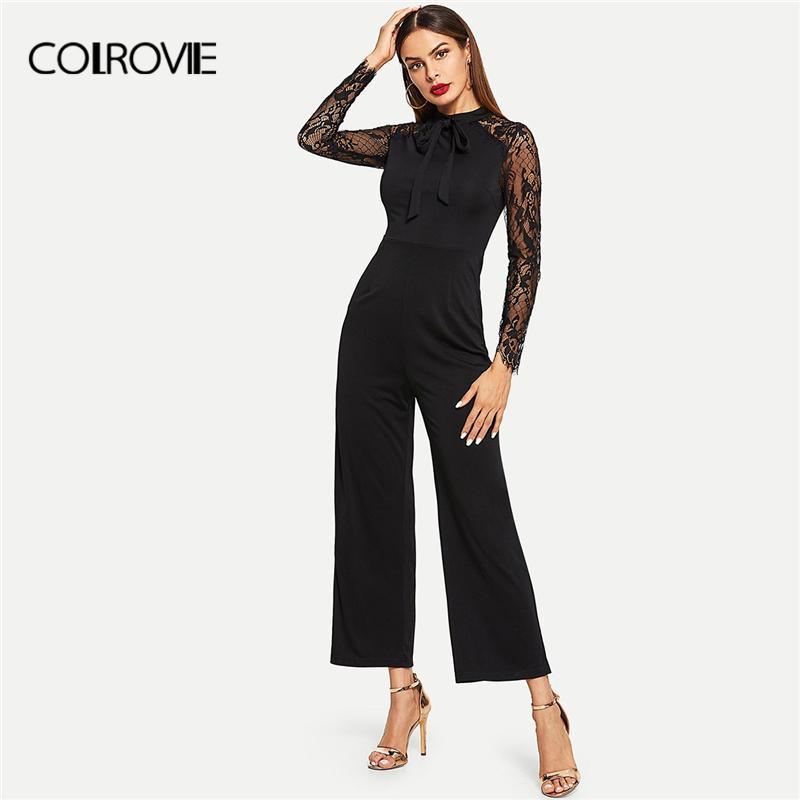 47c3370b76fe COLROVIE Black Stand Collar Tie Neck Lace Skinny Elegant Jumpsuit ...