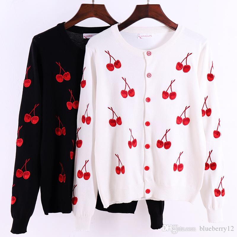 Womens Sweaters Cherry Printing Women Cardigans Spring Autumn Fashion Jacket Womens Knitting Cardigan Sweater Female Coat