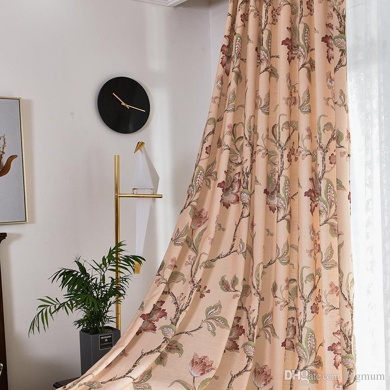 America Country-Style Pastorale Floral Cotone Lino Blackout Finestra Tende  per soggiorno Camera dei bambini Stampata Foglie Camera da letto Tenda ...