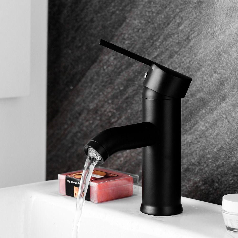 Einhand-Badezimmer-Becken-Hähne kalt / heiß  Mischer-Becken-Wannen-Hahn-Schwarz-Wasser-Küchen-Hahn-Badezimmer-Zusätze