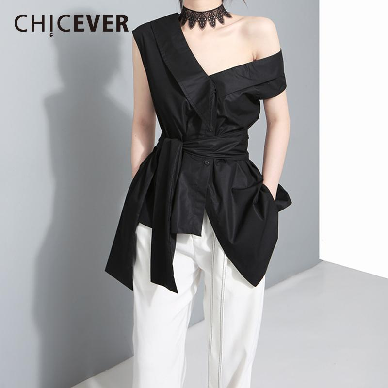 a3b7167a98d15 Chicever Spring Off Shoulder Women s Shirts Blouses Top Sleeveless Slim  Casual Spring Bandage Irregular Shirt Clothes New Y19043001