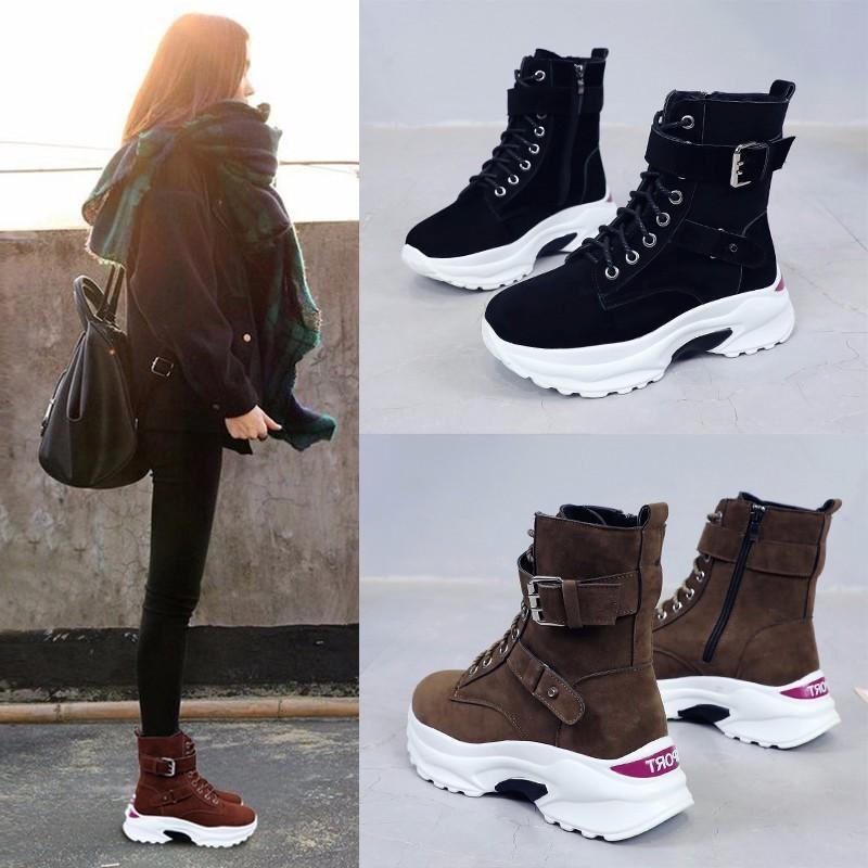 eb7b2f807 Compre Botas Femininas 2018 Outono E Inverno Nova Versão Coreana Com Botas  De Plataforma Grossa Das Mulheres Selvagem High Top Sapatos Mulheres Mais  Veludo ...