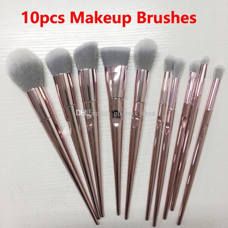 b3e6cf71fa04 Makeup Brushes 10pcs Set Rose Gold MakeupBrushes Eyeshadow Powder Contour  Brush Kits Beauty Cosmetics tools Brushes Foundation Brushes
