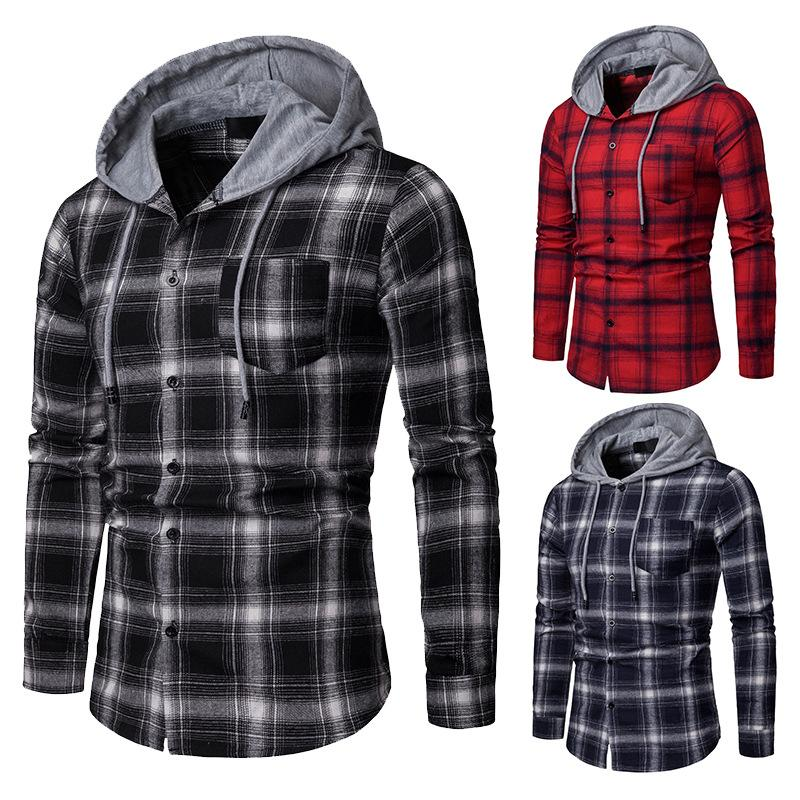 2019 Brand Plaid Shirts Men Fashion Korean Flannel Hoody Shirt Long