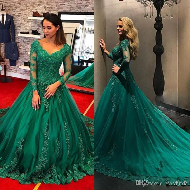 a869de391d78f Formal Emerald Green Dresses Evening Wear Long 2019 Lace Applique Beads Plus  Size Elie Saab Arabic Long Sleeve Prom Gowns Robe De Soiree Chic Evening ...