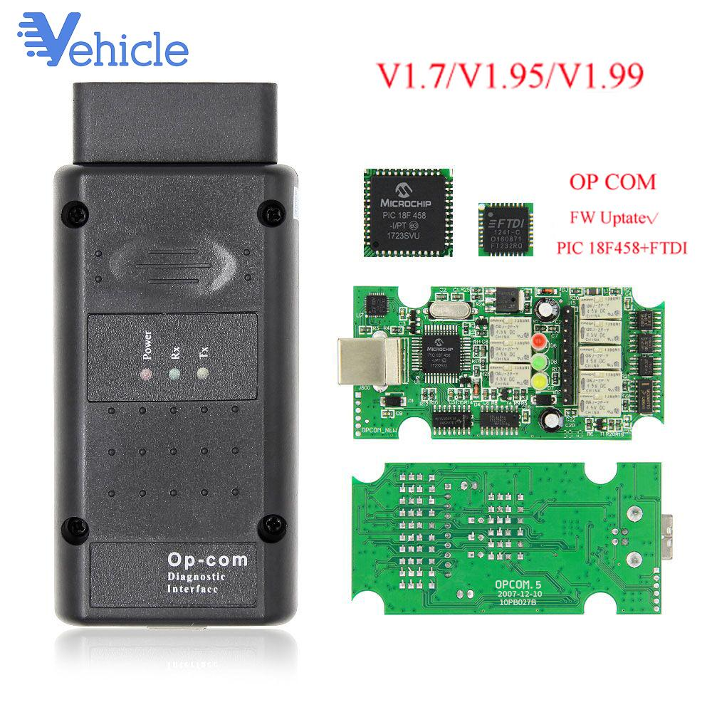 Car Diagnostic Auto Tool OP-COM V1.70 1.95 1.99 FTDI FT232RQ OPCOM V5 For PIC18F458 Flash update CAN BUS OBD OBD2 Scanner